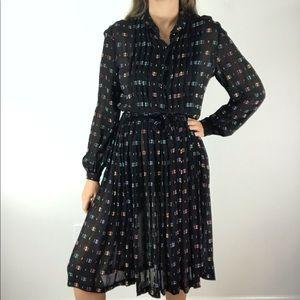 VINTAGE Lilli Ann Black Abstract Semisheer Dress